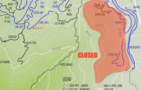 TRAILS CLOSED DUE TO ROCK FALLS
